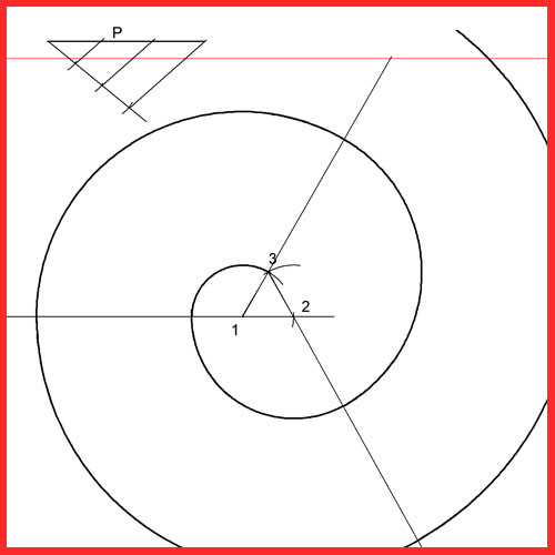 Espiral de un triángulo conociendo el paso. Envolvente de un triángulo.