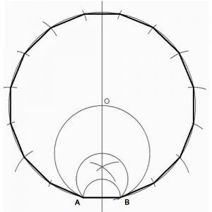 hexadecágono, polígono de 16 lados, a partir de la medida del lado.